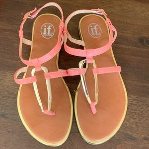 Shoes - Coral and gold medal accent flat sandals